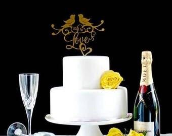 ON SALE Love Birds Wedding Cake Topper, Romantic Cake Topper, Gold Love Birds, Wedding Cake Topper, Gold Cake Topper, Cake Topper, Bird Cake