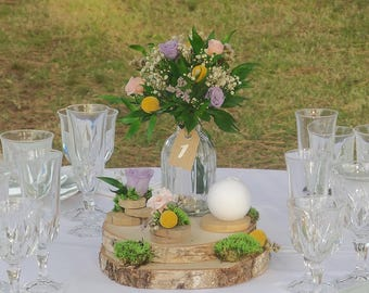 Center of Nature, romantic floral table for wedding decor, rustic wedding table, log of wood, preserved flowers