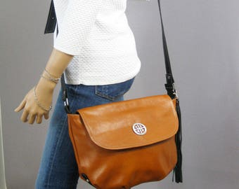 Crossbody Leather Bag, camel leather purse, crossbody purse, camel leather shoulder bag, everyday bag, leather bag, leather tassels