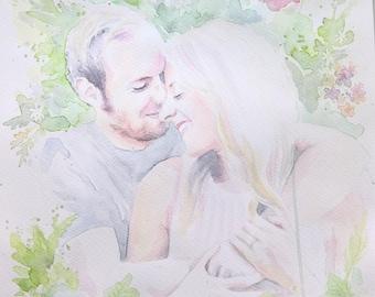 Wedding Gift Present Custom Watercolor Portrait, Handmade Painting, Aquarelle on Paper, Original, Hochzeit, Hochzeitsgeschenk, Couple