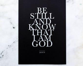 Monochrome white ink A4 print. Typography Scripture print. Psalm 46 v 10. Christian prints.