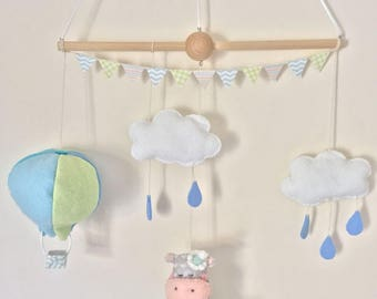 Baby mobile boy hippo with hot air balloon & clouds with raindrops and puddle
