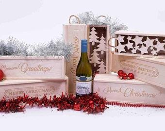 Wooden Wine Box. Christmas Wine box. Wine Gift Box. Seasons Greetings. Happy New Year Wine box. Wine Presentation box, Single wine box.