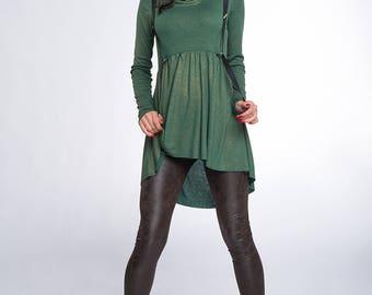 Long Sleeve Tunic/ Asymmetrical Tunic/ Turtleneck tunic/ Green Tunic/ Cotton Tunic/ Casual Tunic/ Short Woman Tunic/ Friends Fashion