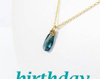 blue jewelry gold necklace christmas gift gem jewelry gemstone necklace gift for her kyanite birthday gift ideas wife gifts jewelry Y40