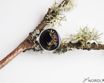 Real flower heather ring Natural flower Ring with heather plant under epoxy resin Real plant jewelry Eco