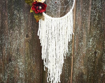 Floral boho wall hanging, large white flower rustic white dreamcatcher, dream catcher, dreamcatcher, nursery baby dreamcatcher, boho wedding