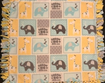 Blue and Yellow Dream Big Baby Blanket