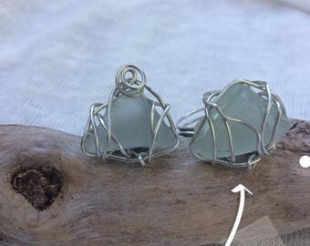 Triangular Sea Glass Wire Wrapped Silver Ring