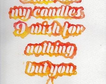 Watercolor Candle Original Poem Print 9x12