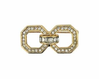 Christian Dior 1980s Gold Plated Vintage Rhinestone Brooch