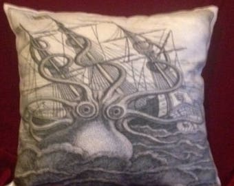 Octopus Kraken and Ship Seascape Printed Black and Beige 100% Cotton Cushion