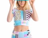 90's Block Lycra Matching Set Crop Top -Onesie-Twopiece-Festival-Activewear-Bodysuit