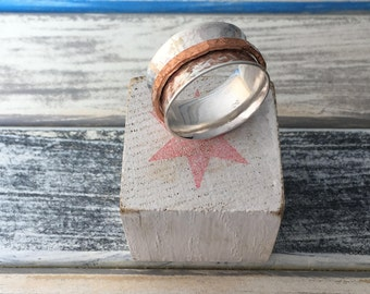 Spinner - handcrafted sterling silver and copper ring