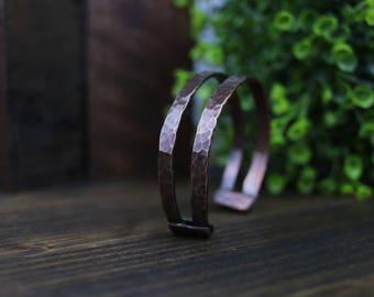 Hammered Copper Two-Banded Bracelet