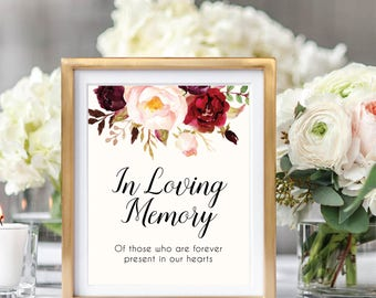 In Loving Memory Sign, Wedding Remembrance Sign, Memorial Table Sign, In Memory Of, Wedding Sign Printable, Marsala, Rustic Wedding, #B510