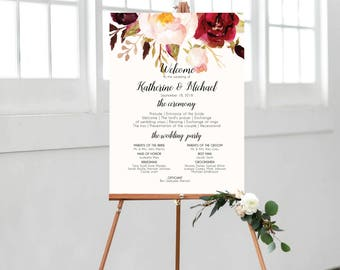 Wedding Program Sign, Ceremony Program Sign, Ceremony Program Template, Wedding Program Template, Printable Wedding Sign, Floral, #B510