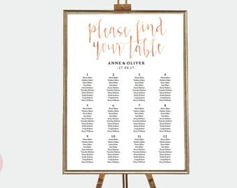 Rose gold seating chart template, Wedding seating chart poster, Please find your table chart, Wedding table plan, Reception table chart
