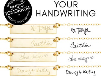 Actual Handwriting Jewelry, Memorial Jewelry, Signature Necklace, Sentimental Gift, Handwritten Necklace, Silver, Gold Fill, Rose Gold Fill