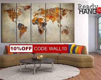 Rusty world map, World map canvas, World Map, Wall Art Canvas, World Map Print, World Map Canvas, Canvas  map, Vintage prints