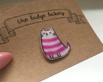 Pink / Purple Stripped Cat Pin Badge