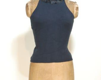 Fur-trimmed halter top, keyhole back