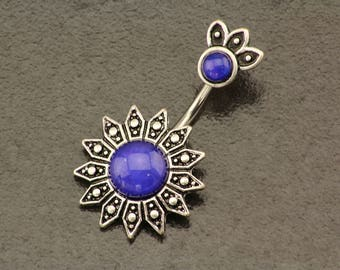 Sun Belly Button Ring. Flower Belly Ring. Boho Tribal Sun Piercing. Silver Navel Ring. Bohemian Sparkle Body Jewelry. Unique Belly Bar.