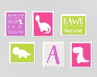 Girly Dinosaur Wall Prints