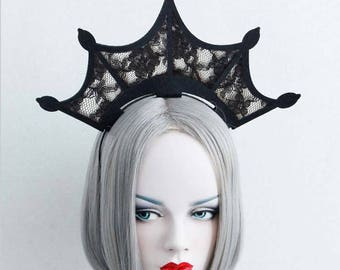Lace crown, evil queen crown, black crown, black wedding dress, Black Lace Headband, Goth crown, Gothic headband,medieval crown,witch crown