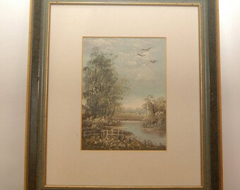 """Original oil painting F. Terlitz """"Lake with willow"""""""