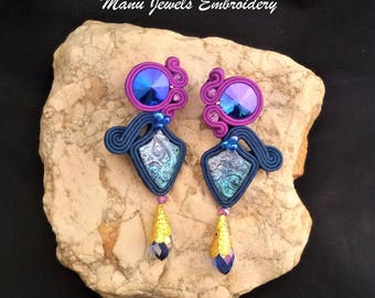 soutache earrings blue purple, soutache, soutache jewelry, soutache jewels, handmade earrings, soutache embroidery