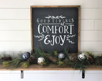 """2x2 Good Tidings of Comfort and Joy    Wood Signs and Wall Decor   Christmas Songs Hymns Signs   24""""x 24"""" Magnolia Inspired Christmas Sign"""