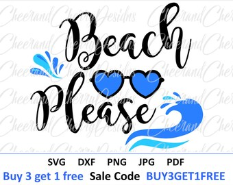 Beach Please svg  Beach SVG Beach DXF Summer svg Vacation SVG file for Cricut Ocean svg file for Silhouette svg Sea svg Heart Sunglasses svg