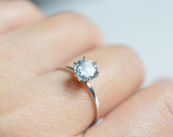 Aquamarine Engagement Ring Aquamarine 14k Gold Ring Aquamarine 18k Gold Engagement Ring White Gold Aquamarine Ring Aquamarine Wedding Ring