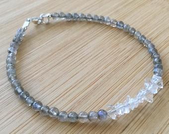 Labradorite and Herkimer Diamond Bracelet, Sterling Silver Labradorite Bracelet, Beaded Bracelet, Herkimer Diamond Jewelry
