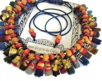 ETHNICA version 4 - Les Yoyos de Calie - Bib like necklace ethnic folk african hippy chic hobo fabric rolls big original unique present