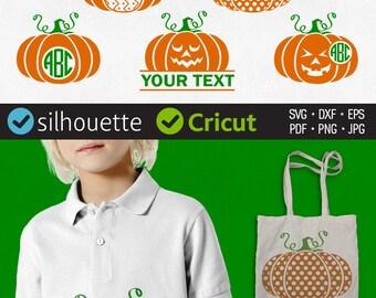 Halloween Pumpkin Svg Pumpkin Monogram Svg Jack O Lantern Svg Initial Border Svg Halloween cuttable Svg Silhouette Files Cricut vinyl design
