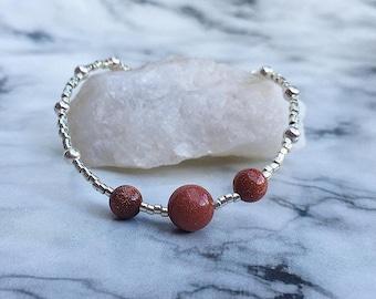 Goldstone Beaded Bracelet, silver beaded bracelet, goldstone