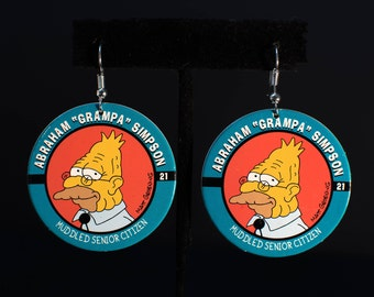 Vintage, 90s, Retro, Funny, Simpsons, Grandpa, Pog, Earrings