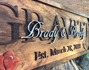 Personalized Family Name Sign 3d Carved Wedding Gift Anniversary Gift