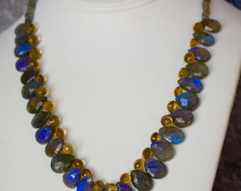 Labradorite with Citrine and 14k Gold Necklace with Matching Earrings.