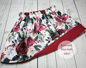 Handmade Baby girl toddler Christmas flower reversible skirt