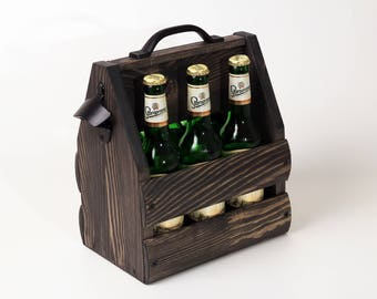 Black wooden six pack beer carrier, Wooden Beer Carrier, Wooden Beer Caddy, Father's Day gift, Personalized Birthday Gift, Home Brew