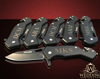 6 Groomsmen gift set - 6 Personalized engraved gifts - Officiant gift - Best Man engraved tactical knife set - Wedding and Birthday gift set