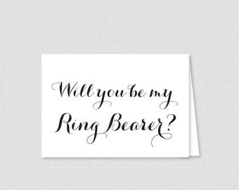 Printable Will You Be Ring Bearer Cards - Black and White Will You Be My Ring Bearer Card, Ring Bearer Proposal Card with Calligraphy 0005