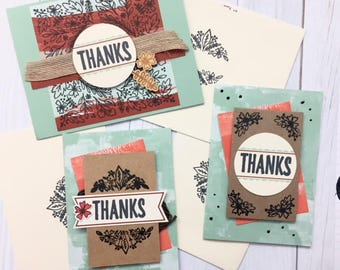 C019 - Handmade Thanks Greeting Cards - Thank You Cards - Set of 3