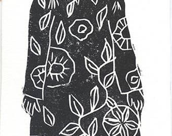 Petite Fleur 1 sur 30 - original linocut printmaking