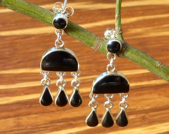 Onyx and 960 Silver Drop Earrings