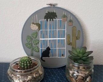 Cat in window with plants-embroidery hoop art 8in diameter