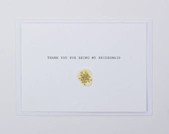 Thank You For Being My Bridesmaid Wax Seal Dried Flower Wedding Card